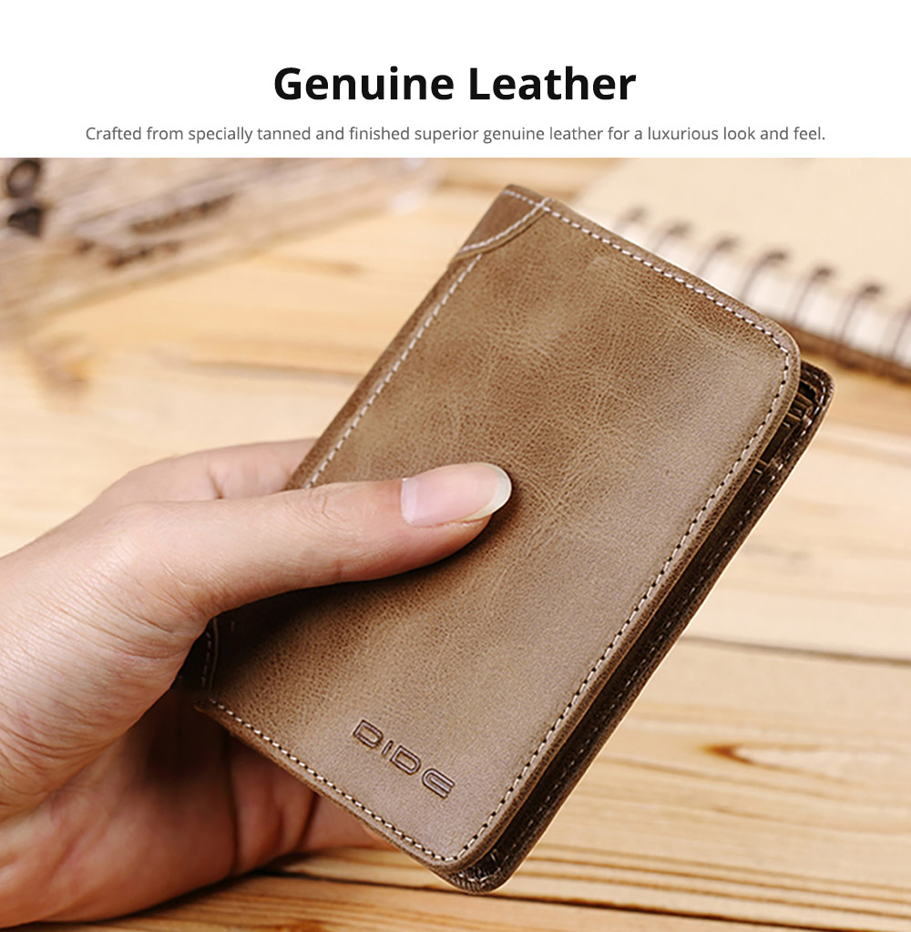 Handmade Folio Genuine Leather Men's Wallet, Foldable First Layer Leather Wallet with Multiple Compartments 7