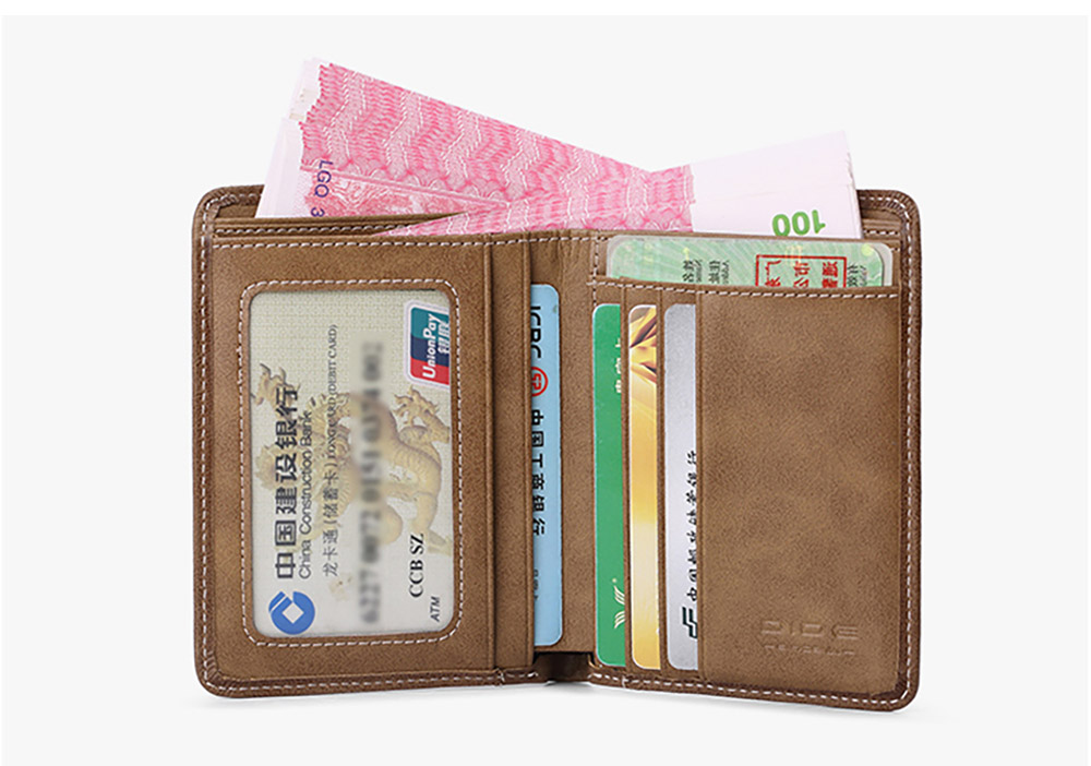 Leather Wallet with Multiple Compartments for Driver License ID Card Receipt Cash Coins