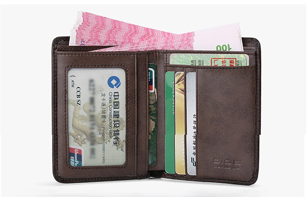 Durable Foldable First Layer Leather Wallet with Multiple Compartments for Driver License ID Card Receipt Cash Coins