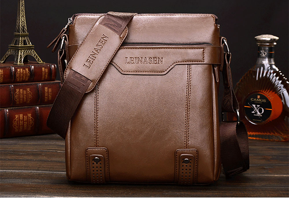 Business Leather Shoulder Bag for Man, coffee