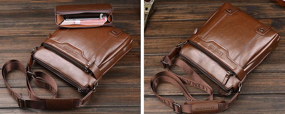 Business Leather Shoulder Bag coffee