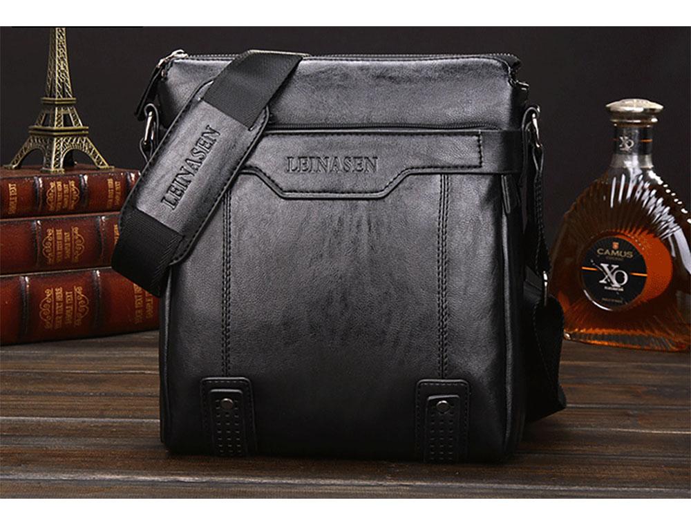 black Business Leather Shoulder Bag