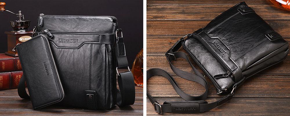 black Business Leather Shoulder Bag Man