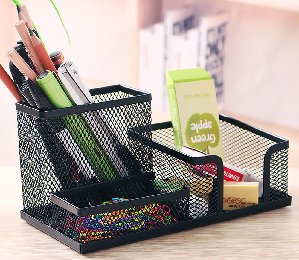 Office Supplies Universal Home School Office Desktop Organizer with 4 Compartments for Pens, Clips, Scissor, Card Pencil Holder