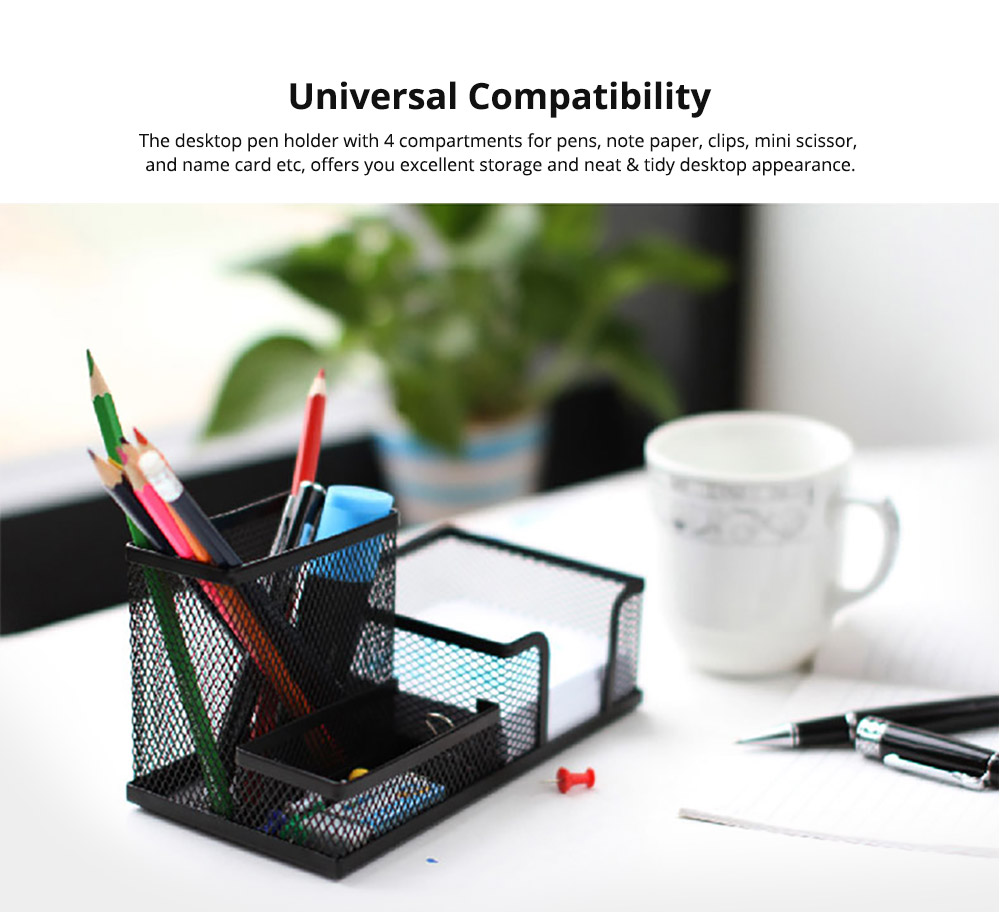 Office Supplies Universal Home School Office Desktop Organizer with 4 Compartments for Pens, Clips, Scissor, Card Pencil Holder 8