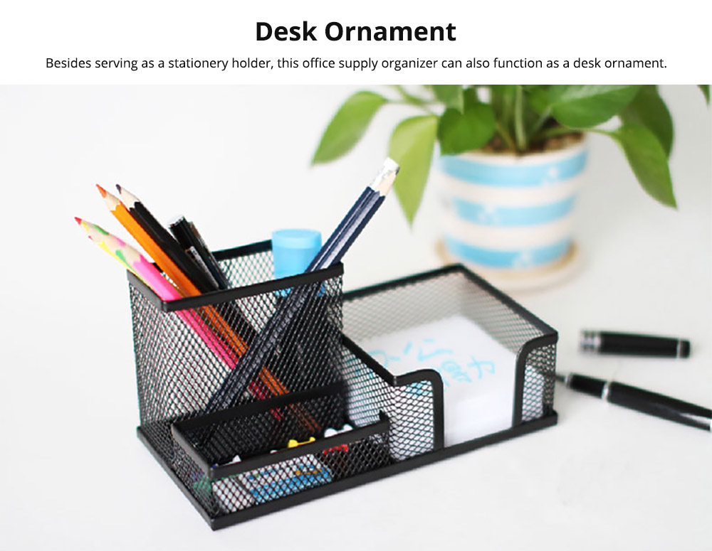 Office Supplies Universal Home School Office Desktop Organizer with 4 Compartments for Pens, Clips, Scissor, Card Pencil Holder 12