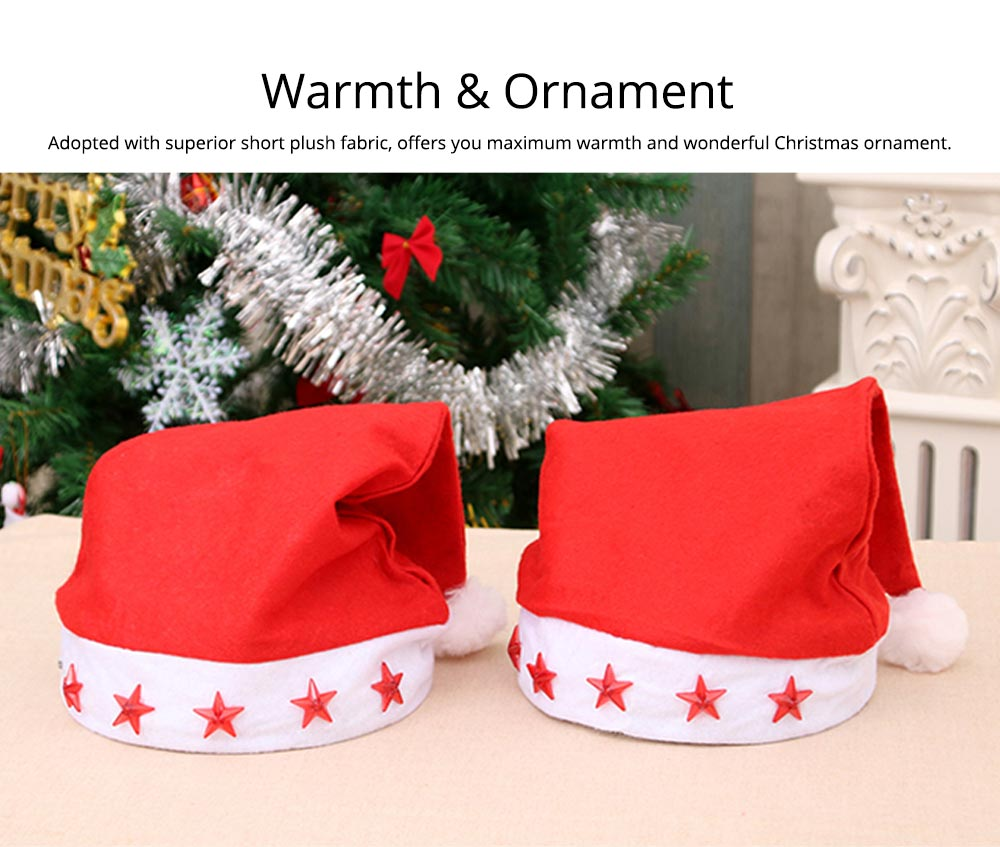 Christmas Hat With Lights - Traditional Christmas Hat Red & White, Christmas Accessory Santa Claus Cap Xmas Hat 8