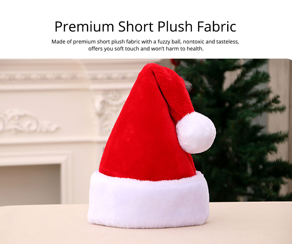 Short Plush Fabric Christmas Hat