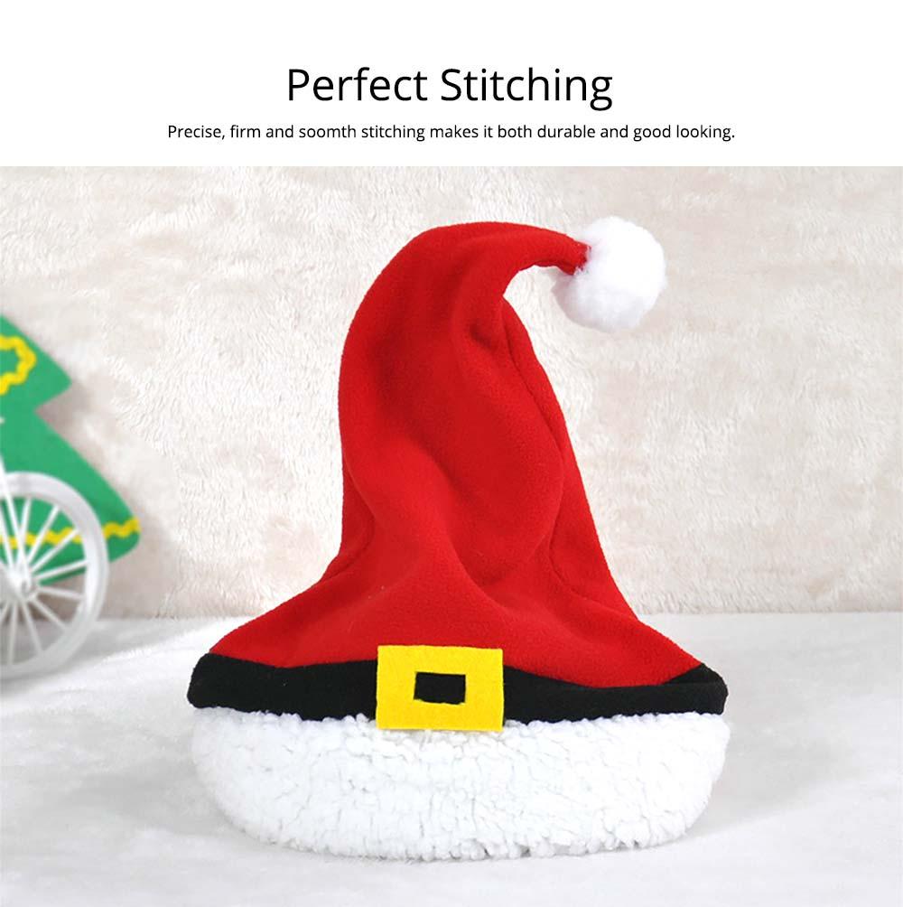Christmas Hat Adult, Lovely Short Plush Santa Hat with Polar Fleece Fabric 8