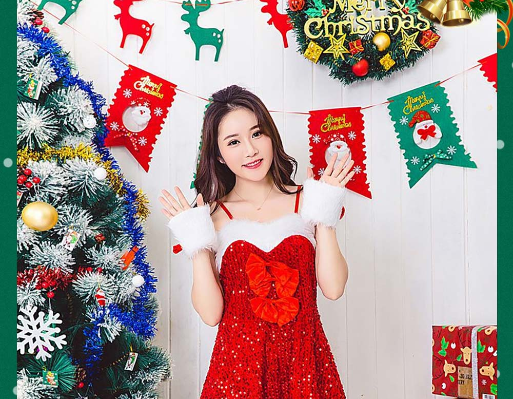 Girls Christmas Skip Dress, Luxurious Paillette Women Christmas Singlet Dress for Christmas Party, Cosplay, Family Gathering, Stage Performance 7