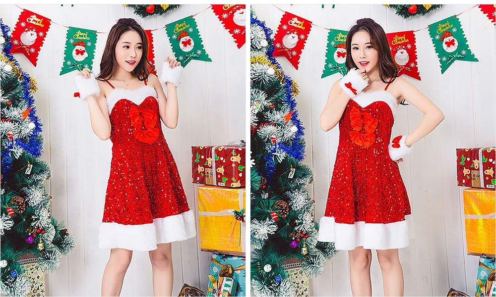 Girls Christmas Skip Dress, Luxurious Paillette Women Christmas Singlet Dress for Christmas Party, Cosplay, Family Gathering, Stage Performance 18