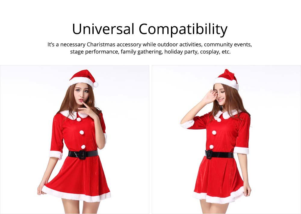 women Christmas dress + Christmas cap + waistband
