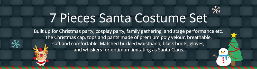 7 Pieces Santa Costume Set