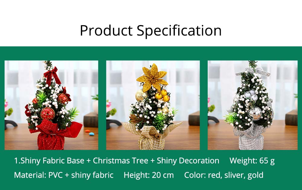 1.Shiny Fabric Base + Christmas Tree + Shiny Decoration