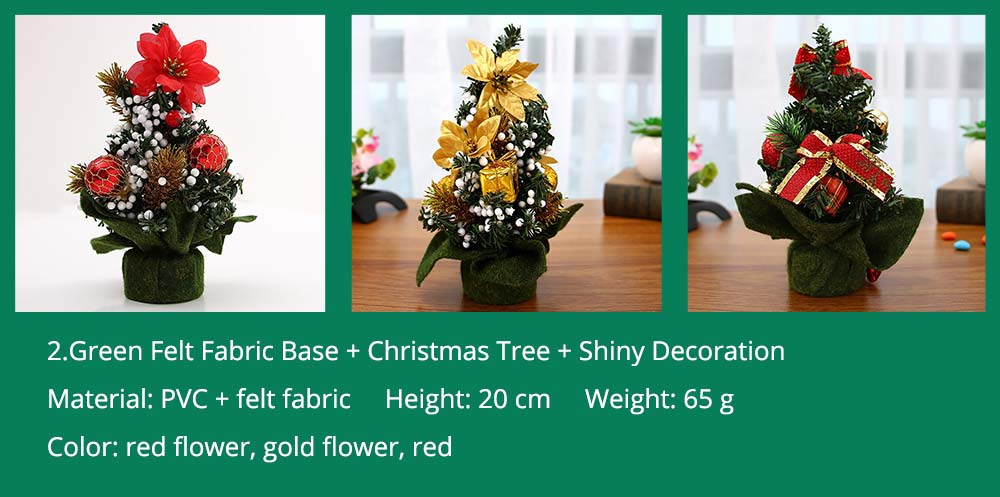 2.Green Felt Fabric Base + Christmas Tree + Shiny Decoration