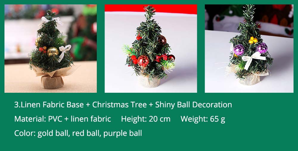 3.Linen Fabric Base + Christmas Tree + Shiny Ball Decoration