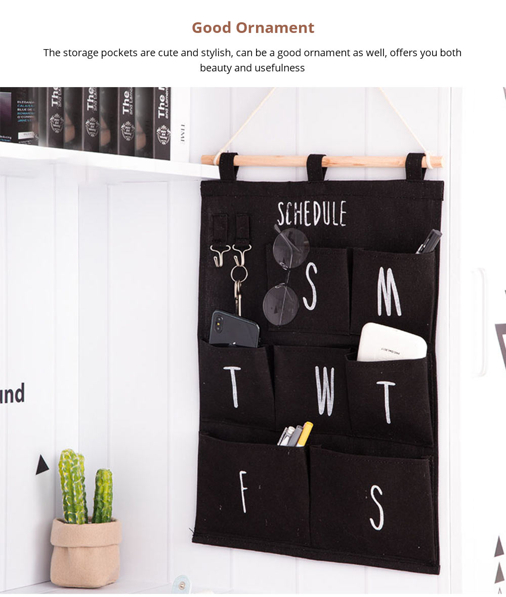 Hanging Organizer Bag with Wood + Rope