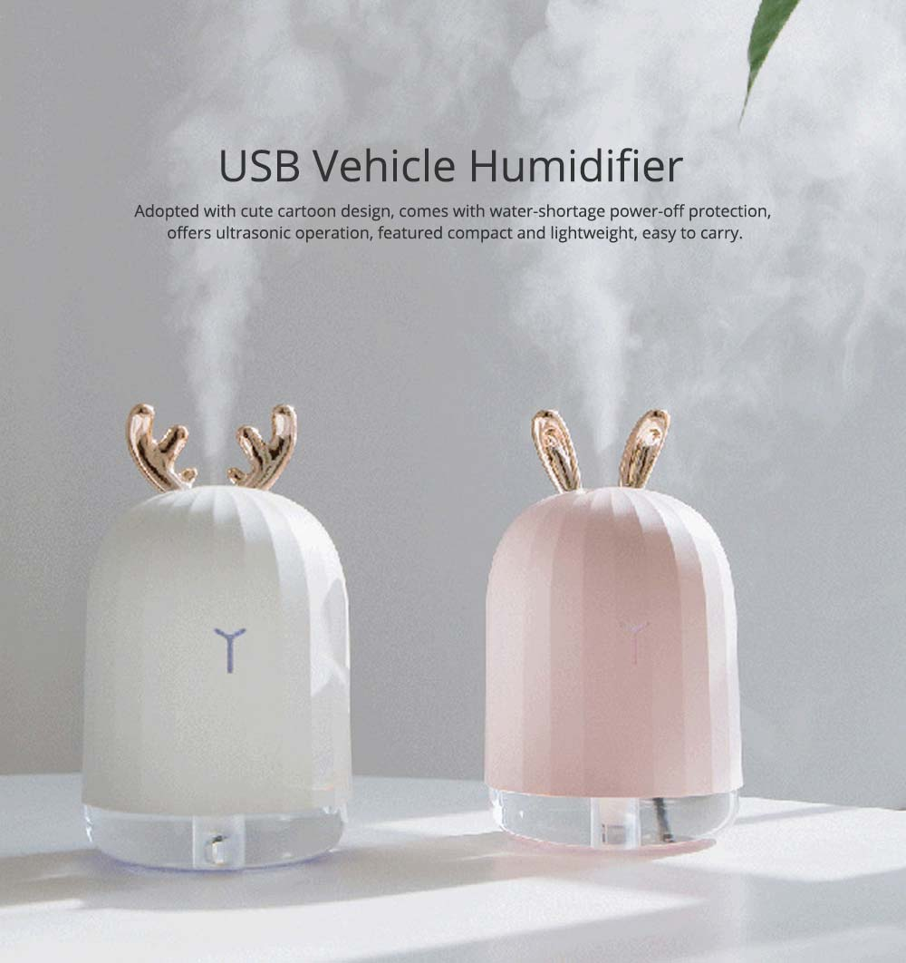 Mini Desk Humidifier, Ultrasonic USB Humidifier Essential Oil Diffuser Aromatherapy Household Rabbit Deer Design 6