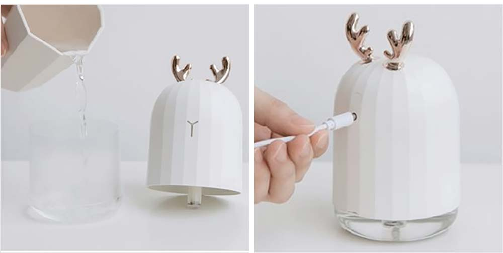 Mini Desk Humidifier, Ultrasonic USB Humidifier Essential Oil Diffuser Aromatherapy Household Rabbit Deer Design 16