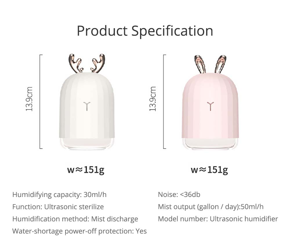 Mini Desk Humidifier, Ultrasonic USB Humidifier Essential Oil Diffuser Aromatherapy Household Rabbit Deer Design 20