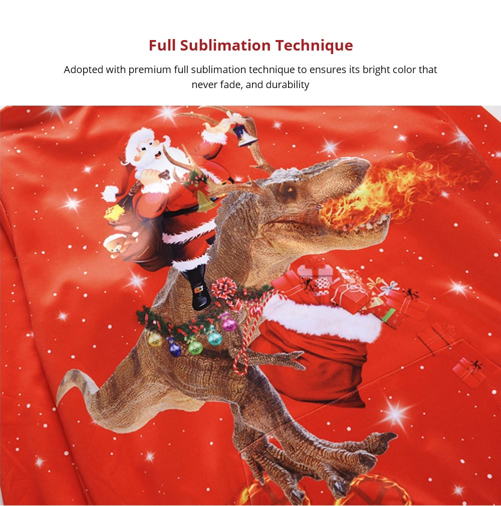 Christmas Hoodies for Adults, No Deform No Pilling Santa Claus Dinosaur Sweater Shirt, Breathable Polyester Christmas Men Pullover Hoody 8