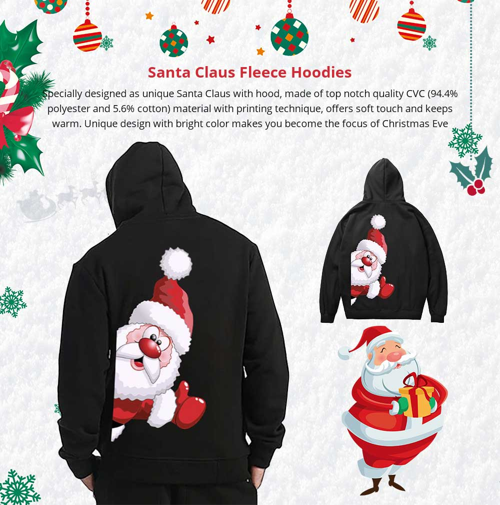 Christmas Fleece Hoodie for Adults, Non-fading No Pilling Santa Claus Fleece Sweater Shirts, Stylish Warm Christmas Fleece Hoodies  7
