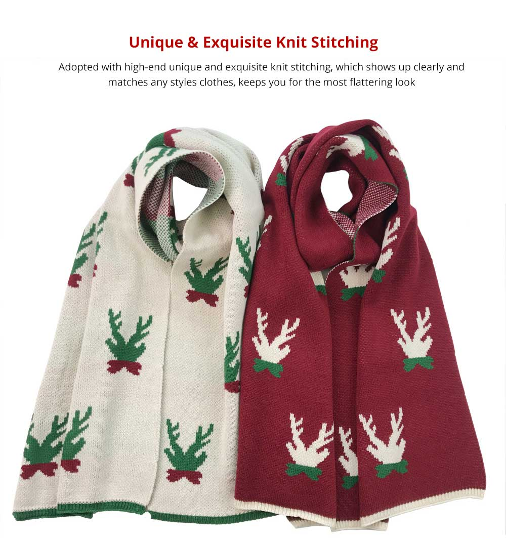 Ultra Warm Christmas Scarf for Outdoors in Winter, Spring, Autumn, Fashionable Christmas Scarf for Girls Children, Perfect Gift Long Scarves 9