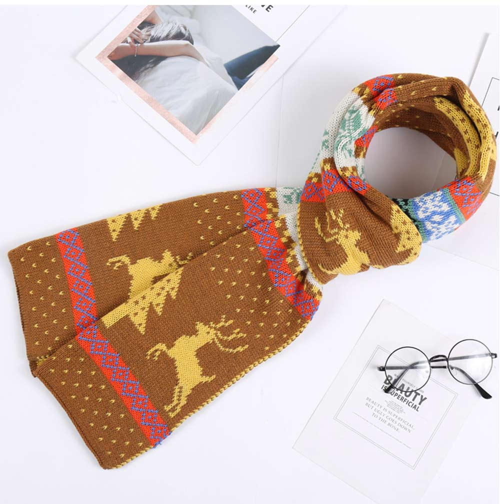 Warm Knit Christmas Scarves with Elk Pattern