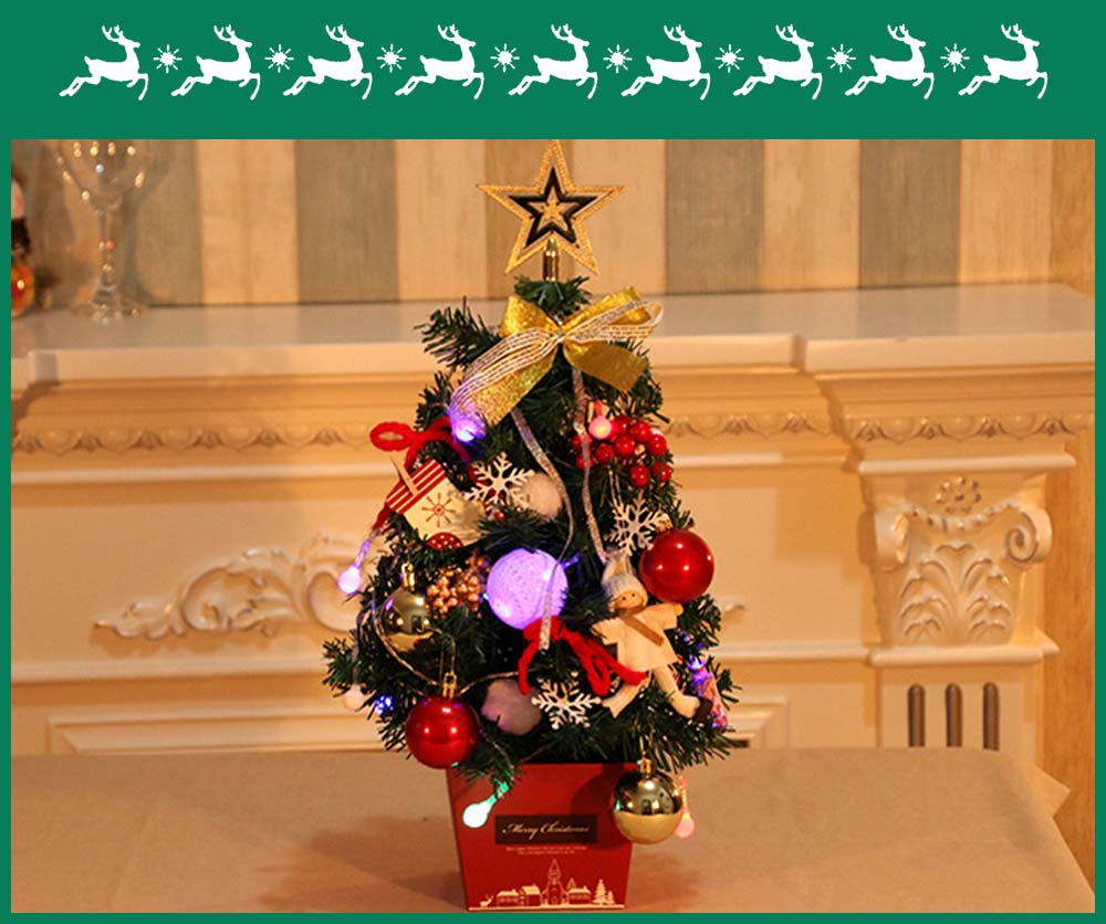 Mini Christmas Tree with Red Carton Base for Office School Decoration