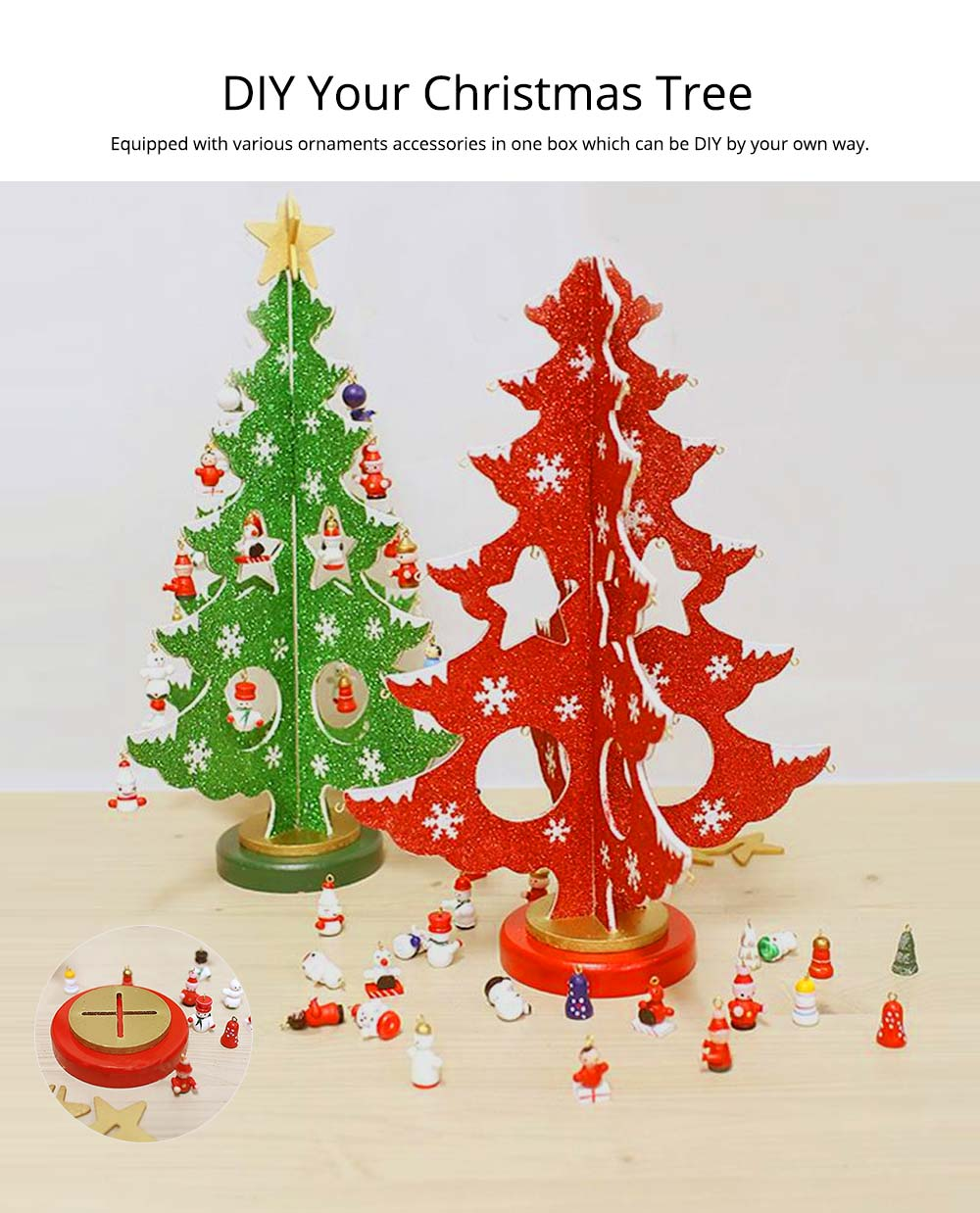 Wood Christmas Tree for Christmas Party, Home, Restaurant, Shop