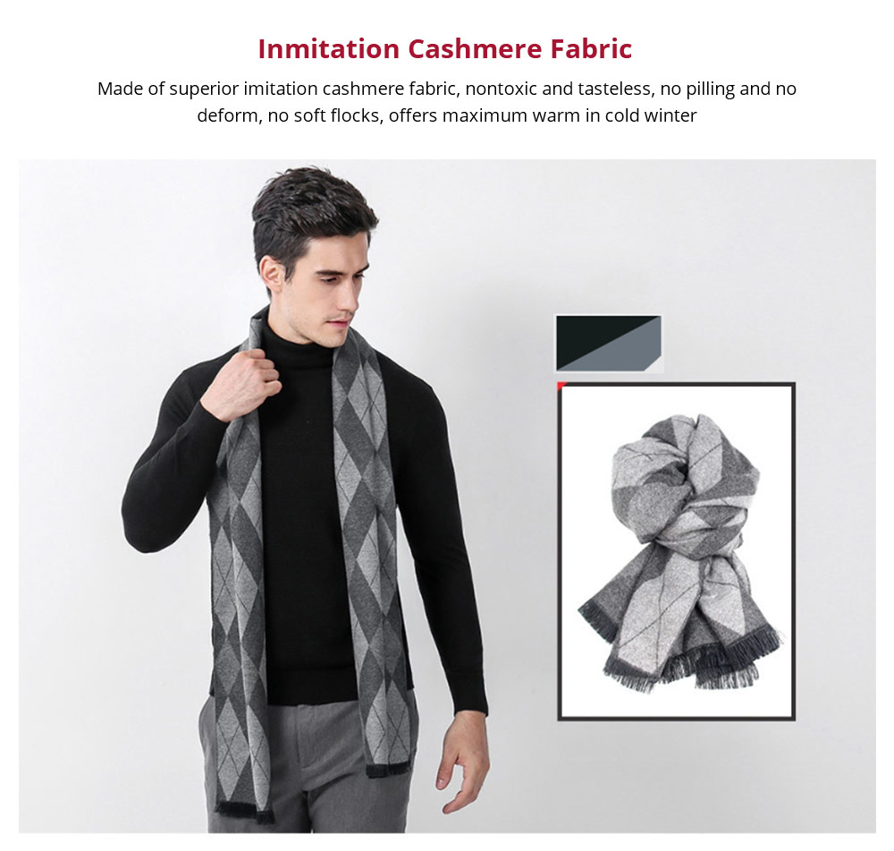 Gentleman Plaid Scarf for Early Spring, Autumn, Winter, Superior Imitation Cashmere Scarf for Men Perfect Gift 12