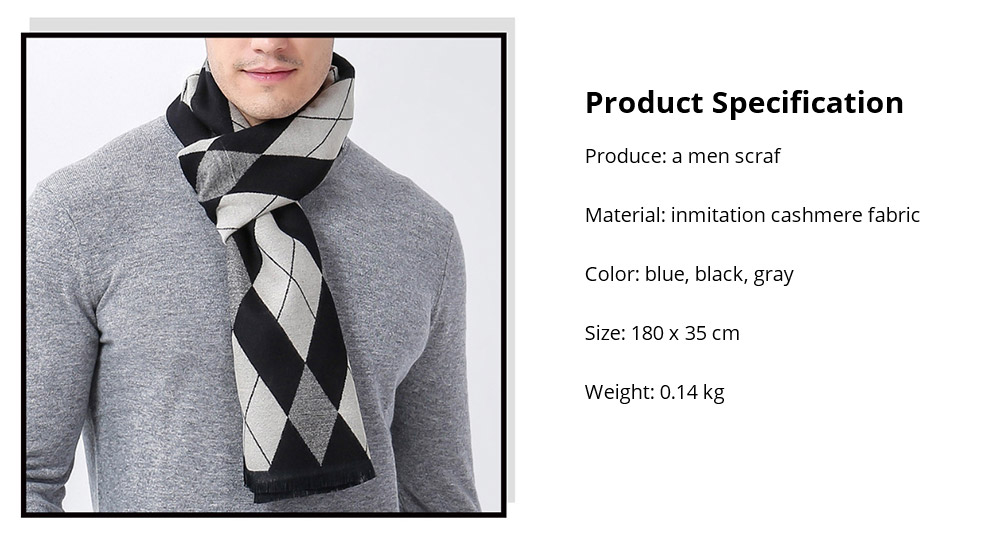 Gentleman Plaid Scarf for Early Spring, Autumn, Winter, Superior Imitation Cashmere Scarf for Men Perfect Gift 16