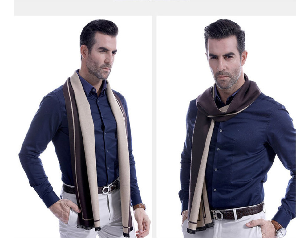 Business Scarf Man Stripe for Business Casual Fashion, Warm Imitation Cashmere Scarves, Contrast Color Gentleman Scarf 12