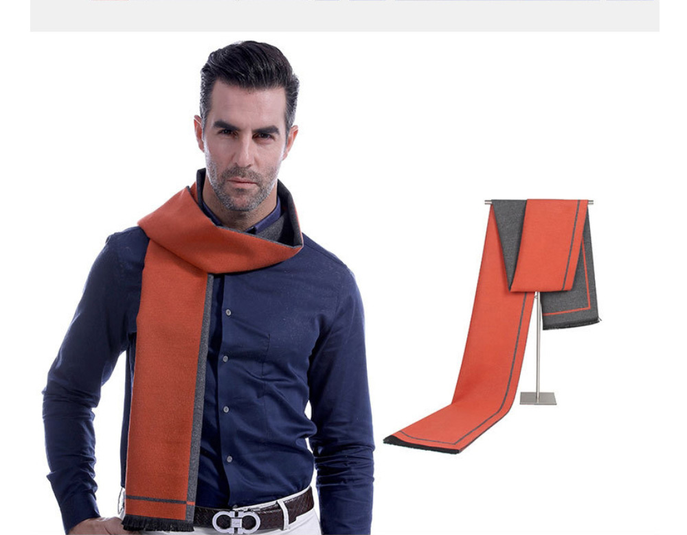 Business Scarf Man Stripe for Business Casual Fashion, Warm Imitation Cashmere Scarves, Contrast Color Gentleman Scarf 16