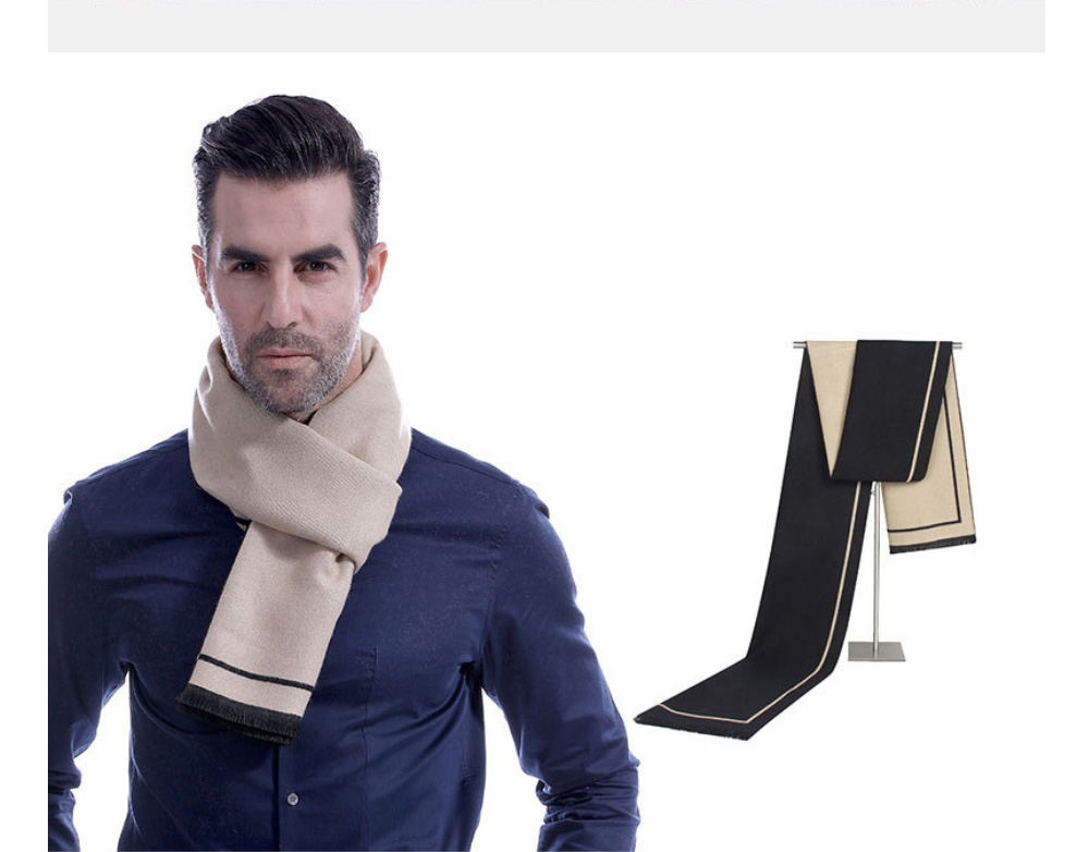 Business Scarf Man Stripe for Business Casual Fashion, Warm Imitation Cashmere Scarves, Contrast Color Gentleman Scarf 19