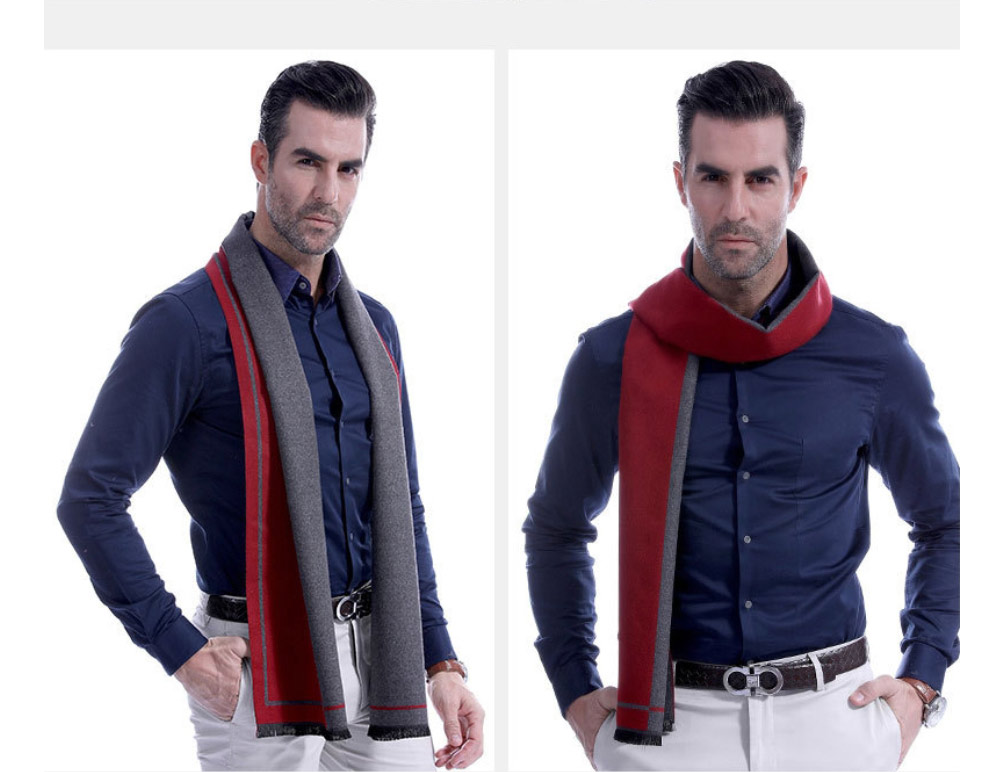 Business Scarf Man Stripe for Business Casual Fashion, Warm Imitation Cashmere Scarves, Contrast Color Gentleman Scarf 21
