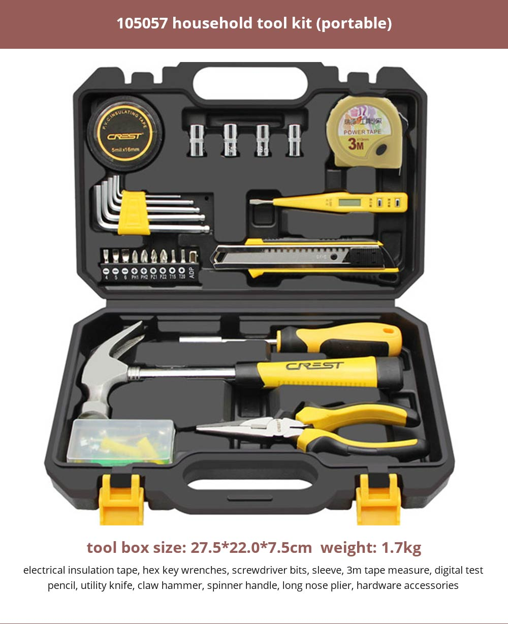 Multifunctional Home Repair Tool Set, Household Hand Tools Set, Hand Tool Kit with Plastic Tool Box 18