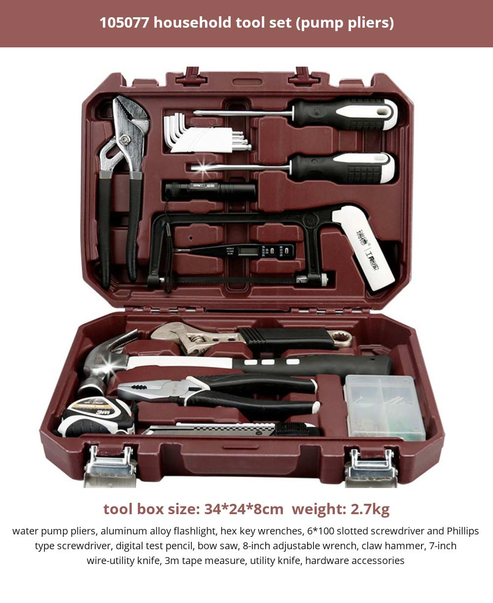Multifunctional Home Repair Tool Set, Household Hand Tools Set, Hand Tool Kit with Plastic Tool Box 22