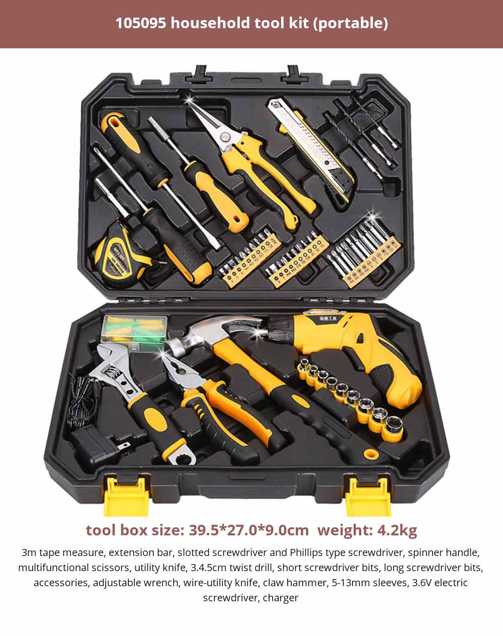 Multifunctional Home Repair Tool Set, Household Hand Tools Set, Hand Tool Kit with Plastic Tool Box 25