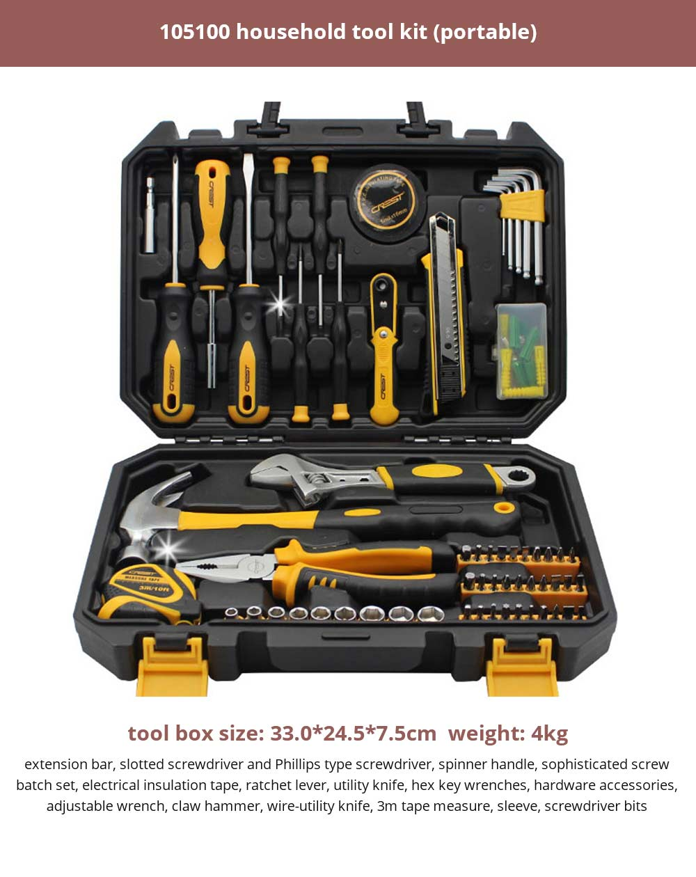 Multifunctional Home Repair Tool Set, Household Hand Tools Set, Hand Tool Kit with Plastic Tool Box 26