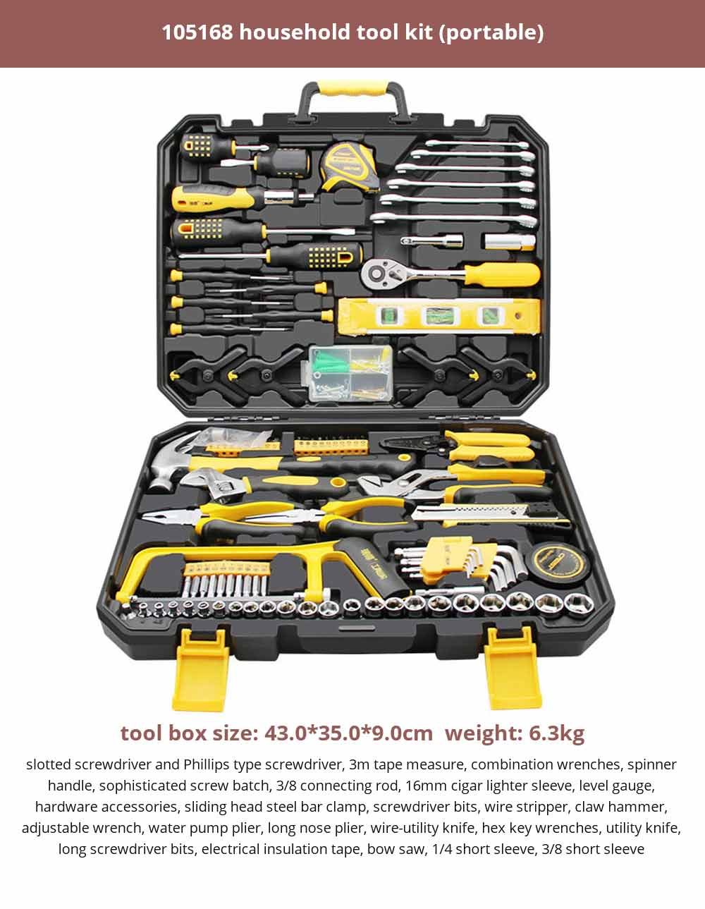 Multifunctional Home Repair Tool Set, Household Hand Tools Set, Hand Tool Kit with Plastic Tool Box 28