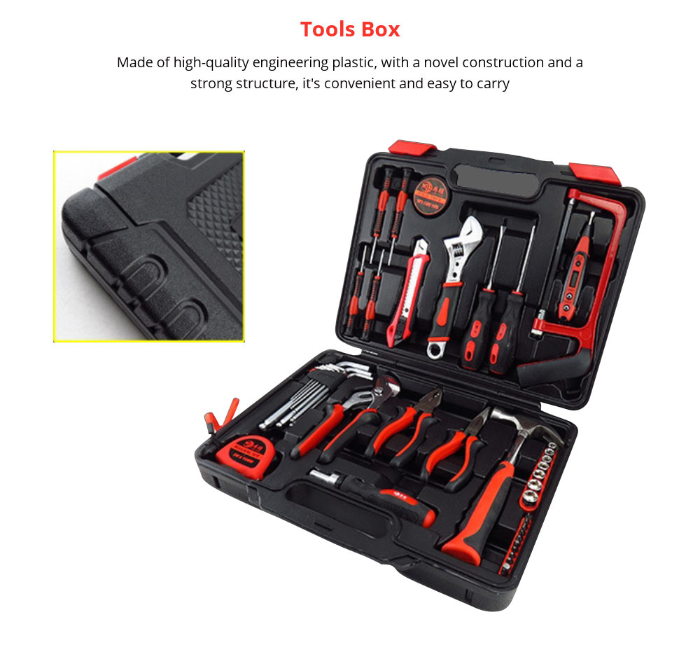 Household Hand Tools Set, Home Repair Tool Set Hand Tool Kit with Plastic Tool Box, Car kits 7