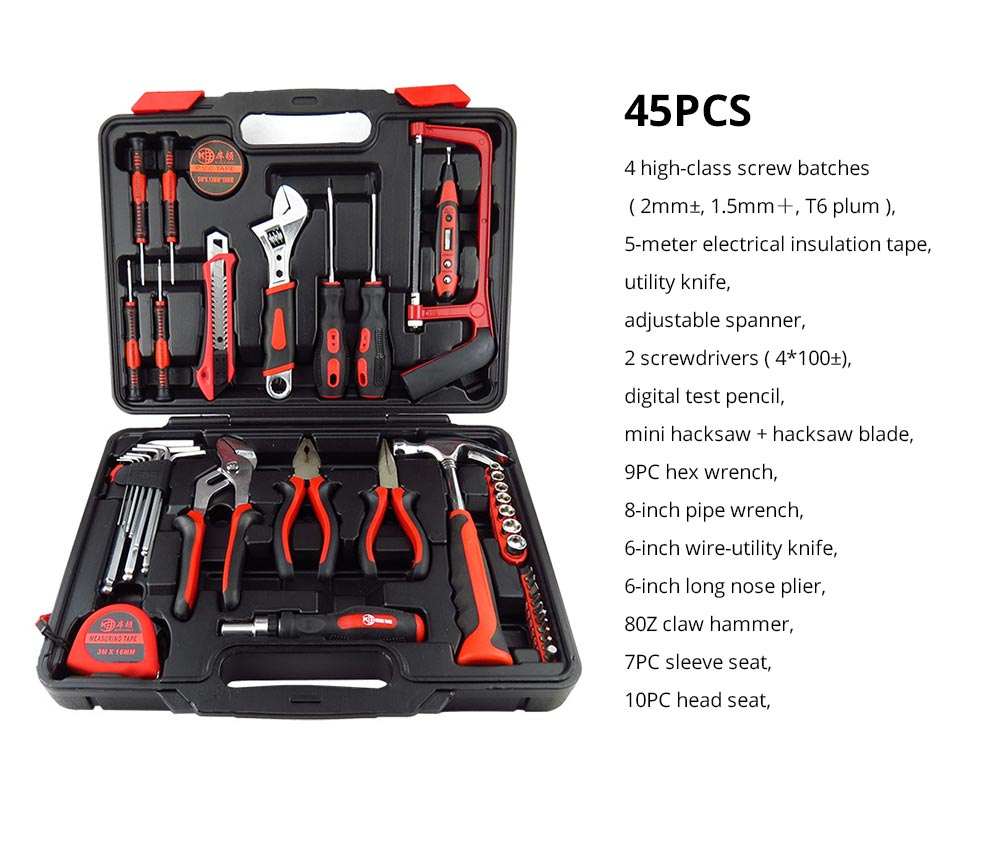 Household Hand Tools Set, Home Repair Tool Set Hand Tool Kit with Plastic Tool Box, Car kits 17