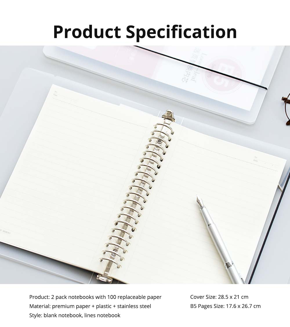 Journals To Write In - Office Supplies Universal Student Detachable Notebook with 100 Replaceable Paper,  2 Pack Personal Journals 16
