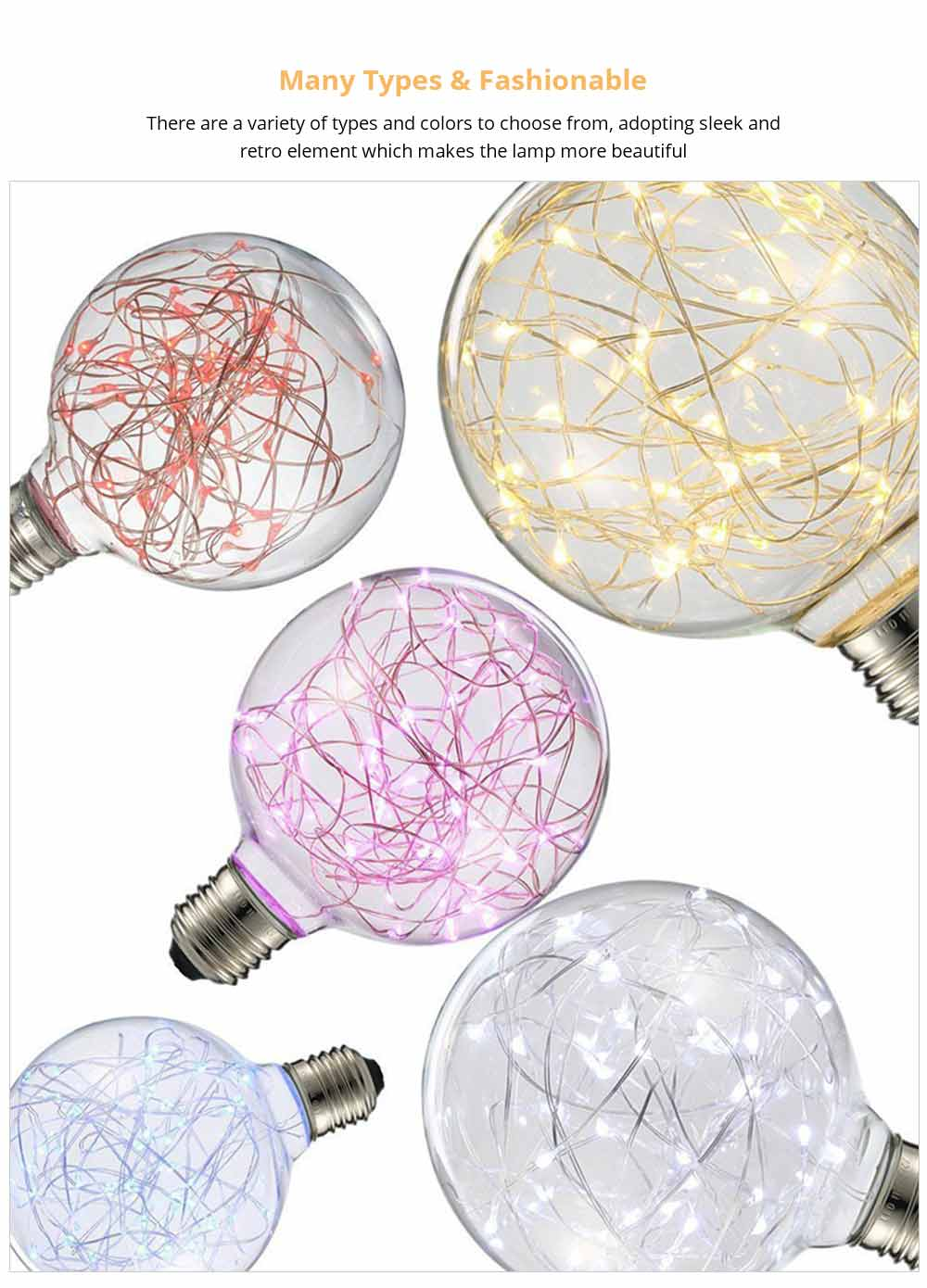 Copper Wire Lamp LED Decorative Lighting, Glass Lamp, Vintage Lamp, Copper Wire Led Lights 12