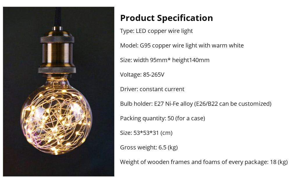 Copper Wire Lamp LED Decorative Lighting, Glass Lamp, Vintage Lamp, Copper Wire Led Lights 13