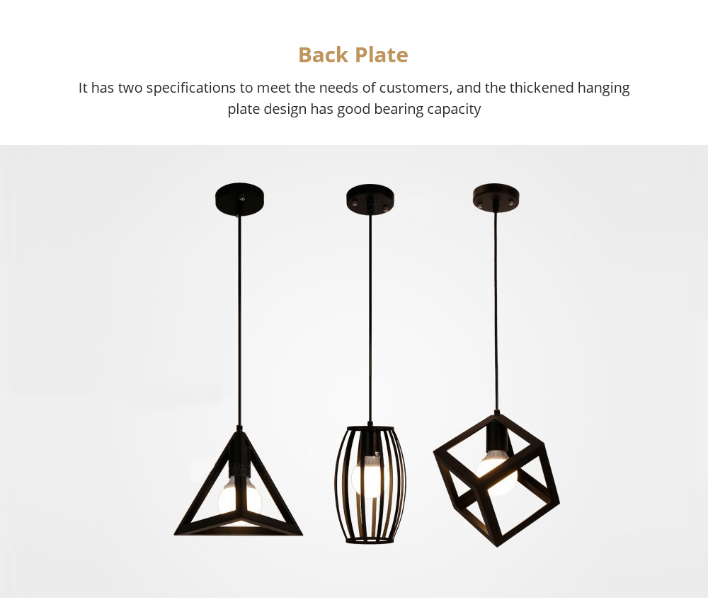 Retro Iron Chandelier with Back Plate