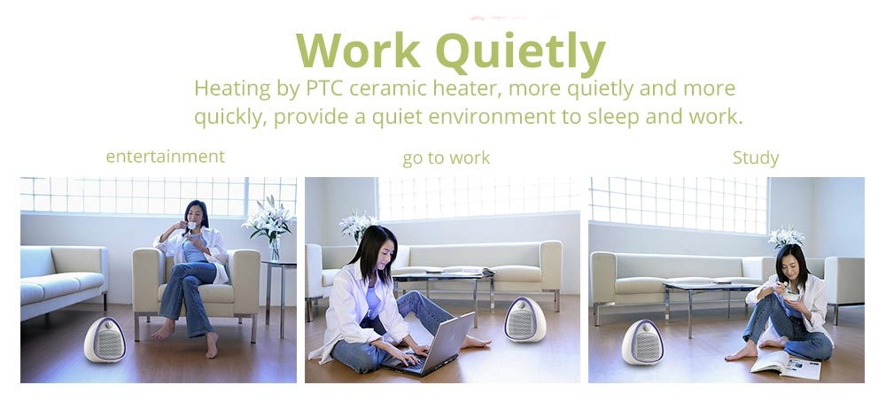 Mini Handy Heater, Streamlined Lovely Quiet Ceramics Three Gear Hot or Cold Air Winter Fan for Home Office Warmer 10