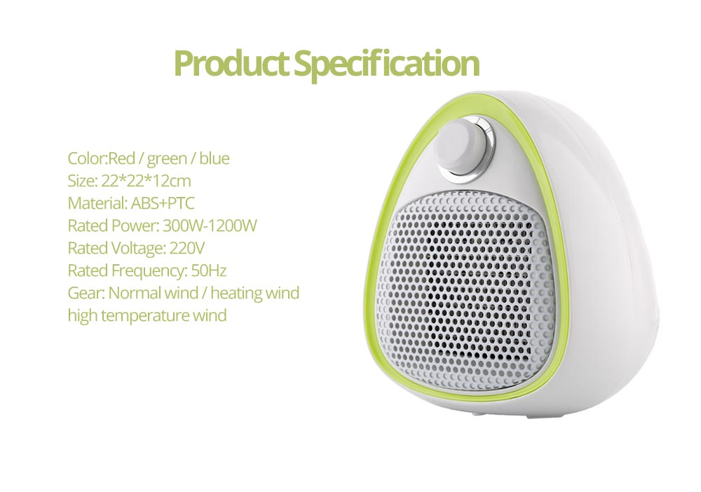 Mini Handy Heater, Streamlined Lovely Quiet Ceramics Three Gear Hot or Cold Air Winter Fan for Home Office Warmer 12