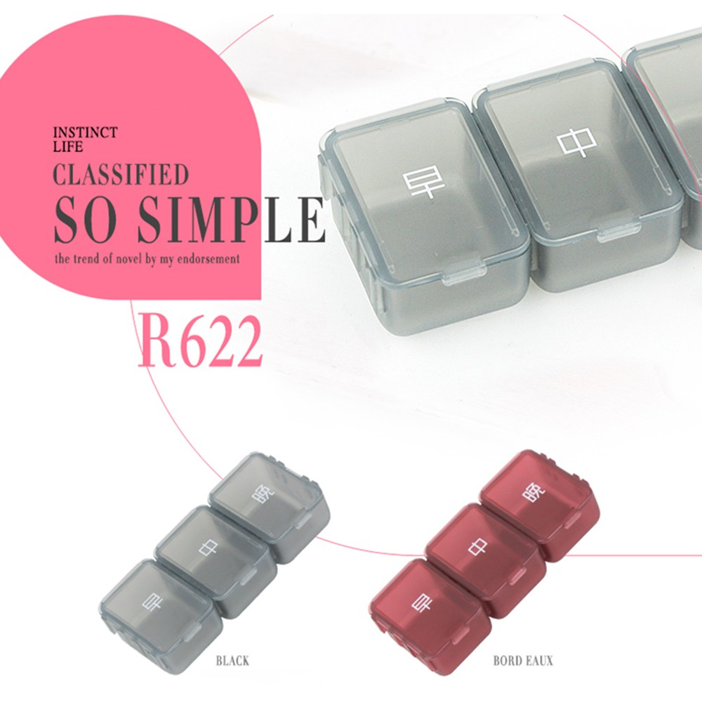 Weekly Pill Box - Portable Medicine Organizer Box with 6 Compartments, Ideal for Holding Pills, Vitamins 4